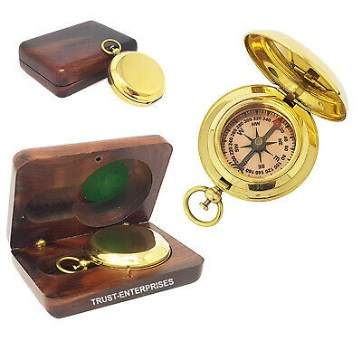 Nautical Brass Pocket Compass Collectible Marine Compass With Box Christmas Gift