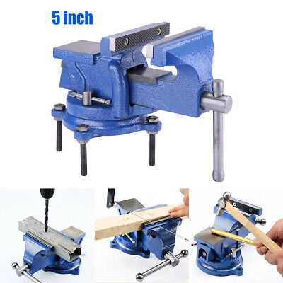 """5"""" Inch Heavy Duty Work Bench Vice Vise Workshop Clamp Engineer Jaw Swivel Base"""