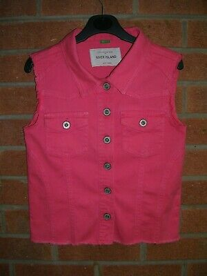 RIVER ISLAND Girls Pink Denim Jacket Sleeveless Coat Gilet Age 12
