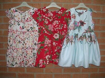 100% NEXT Girls Summer Bundle Cotton Dresses Dress Red Blue Pink Age 7 122cm