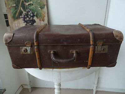 V1778 Old Travel Cases um 1930 ~Vintage~ Classic Car Suitcase with Wooden Strips