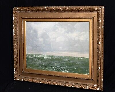 Large 19th Century Cornish Beach Seascape Cornwall Harry MUSGRAVE Antique