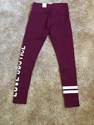 NWT Girls Justice LuvActive Size 14/16 Full Length Legging Solid Burgundy/maroon