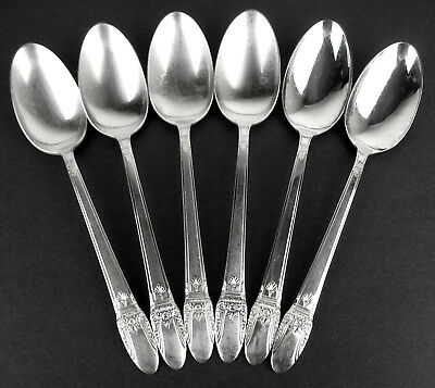 """6 x Serving Spoons 8 3//8/"""" 1847 Rogers First Love 1937 vintage silverplate"""