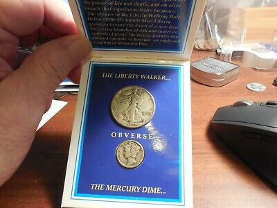 Mercury Dime and Walking Liberty Half Dollar in Holder X Two Silver Classics