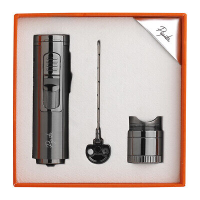 PIPITA Multi-function 3-in-1 Metal Windproof Torch Cigar Lighter+Needle+Holder