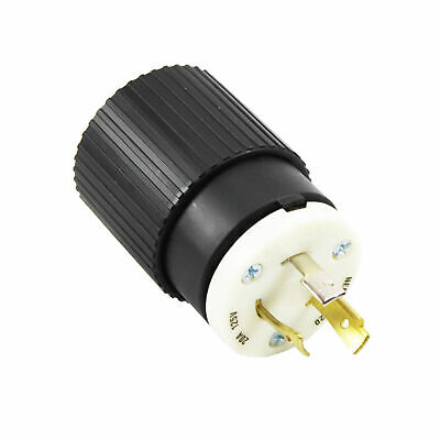Bryant Nylon Locking Plug 70520Np Nema, L5-20, 20A, 125V, Black/White