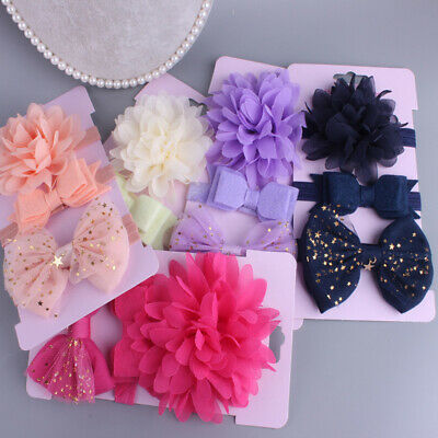 3Pcs/Set Baby Girl Mesh Flower Bowknot Headbands Headwear Hair Decor Accessories