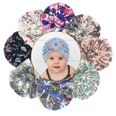SN_ Newborn Toddler Baby Girls Cute Flower Bow Turban Beanie Hat Cap Headband
