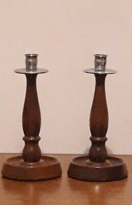 Super Arts And Crafts Art Deco Wooden Candlestick Antique Candlesticks