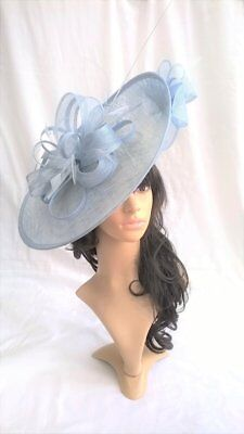 New.Pale powder blue sinamay & feather Hatinator Large saucer disc Wedding.races