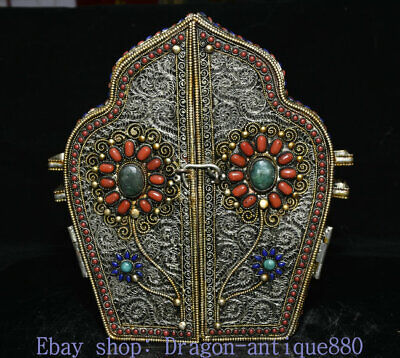 "8.8"" Old Tibet Silver Wire Inlay Gem 4 arms Chenrezig Buddha Ghau Shrine Box"
