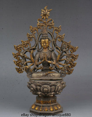 "14"" Old Tibet Temple Silver Gilt Lotus 18 Hands Maha Cundi Mother Buddha Statue"