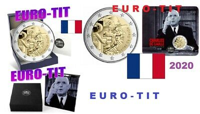 2  EURO  FRANCE  COMMEMORATIVE  2020  BU  +  BE CHARLES  DE  GAULLE  disponible