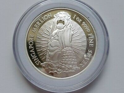 Singapore 1 Oz .9999 Silver Merlion/Orchid Round Comes With A Protective Capsule