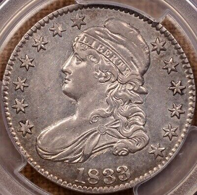 1833 O.107 Bust half, PCGS AU53, flashy coin, luster & PL too DavidKahnRareCoins