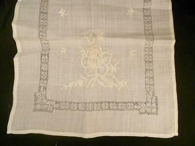 Vintage White Rice Linen Table Runner W/Hand Embroidered Roses & Teeny Draw Wrk