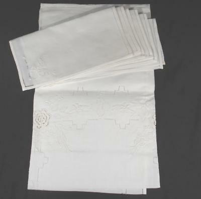 """Vintage Hand Wht Wrk Emb Cot Luncheon Set Of 32""""Sq Tablecloth W/6-10"""" Napkins #2"""