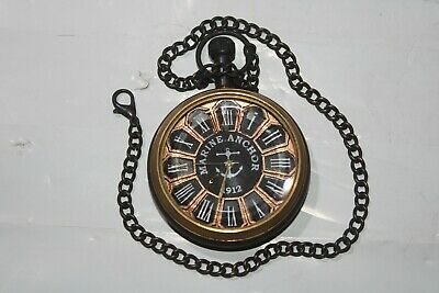 Vintage Antique Dial Pocket Watch Marine anchor Brass Clocks With Chain