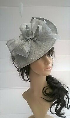 Silver Grey Metallic Fascinator shaped sinamay with Bow loops & feathers Wedding