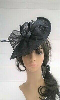 Navy Blue Fascinator shaped sinamay with Bow loops & feathers Wedding