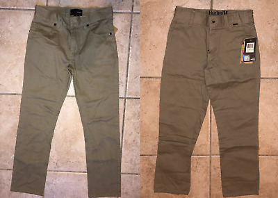 """NWT lot of 2 pairs Hurley boys pants 84 jeans slim chino size 8 26"""" 100% cotton"""