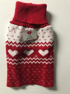 Pet Dog Red Valentine Knit Sweater Hearts Small New