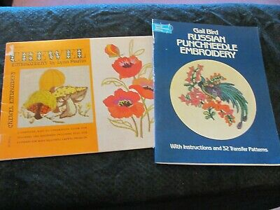 Pair of Embroidery Pattern Booklets - Russion Punchneedle and Crewel