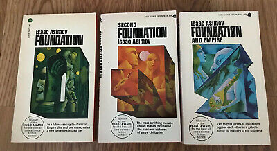 ISAAC ASIMOV Foundation Trilogy Vintage Avon Paperback PB Book Lot Second Empire