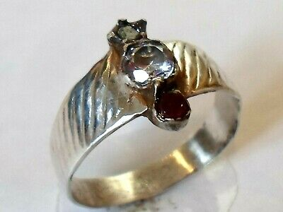 Unique Gifts,Detector Find & Polished,Post Medieval Silver Ring With Real Rubies