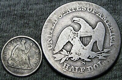 1860-O Seated Liberty Half Dime and 1858-S? Seated Liberty Half Dollar Lot #V315