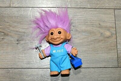 Vintage RUSS Mr. Fix It Troll With Hammer Toolbox Vtg Trolls Clothes Accessories