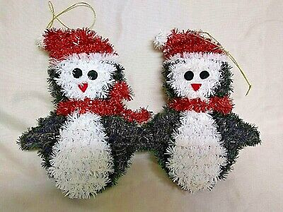 """Set Of Two 6 1/2"""" Black And White Penguin Christmas Ornaments New"""