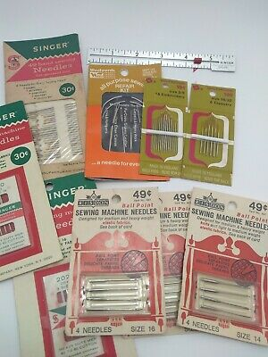 Vintage Sewing Needles Singer Machine Risdon Biltmore Woolworth & Sewing Gauge
