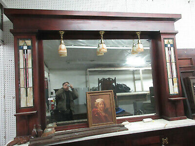 Magnificent Antique Art Deco Bar Back cabinets and Stained Glass