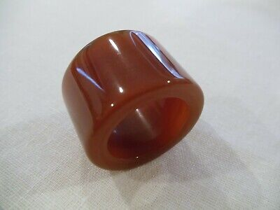 Chinese Hand Carved And Polished Burnt Orange Agate Archers Thumb Ring (Ca11)
