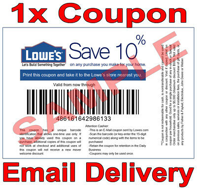 1× Lowes 10% OFF FAST DELIVERY DISCOUNT-1COUPON INSTORE ONLY 𝐄𝐗𝐏 𝟒/𝟎𝟔