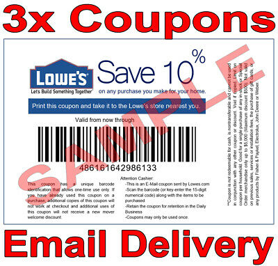 3× Lowes 10% OFF FAST DELIVERY DISCOUNT-1COUPON INSTORE ONLY 𝐄𝐗𝐏 𝟒/𝟎𝟔
