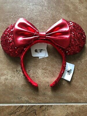 Disney World Minnie Mouse Ears REDD Pirate Red Sequined Headband with Bow NWT