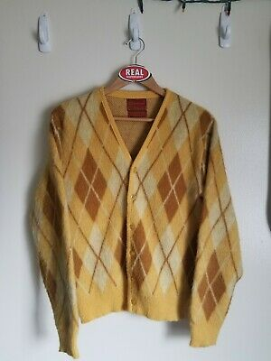 Vintage Sears Kings Road Mohair Cardigan Grunge Fuzzy Cobain Sweater Men's Small