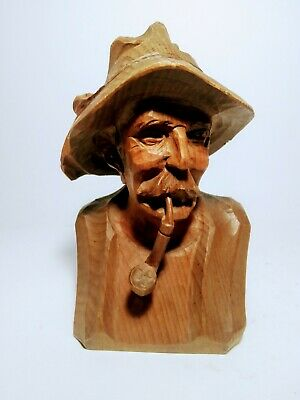 "Vintage Hand Carved Wood Bust Figurine Man Smoking Pipe 6""H."