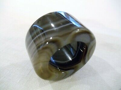 Chinese Hand Carved And Polished Green Banded Agate Archers Thumb Ring (Ca14)