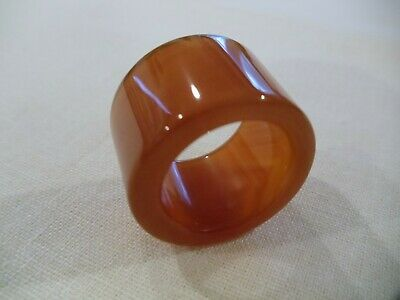 Chinese Hand Carved And Polished Burnt Orange Agate Archers Thumb Ring (Ca15)