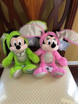 Disney Parks 2020 Easter Mickey and Minnie Bunny Plushes Dated Set