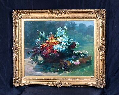 Large 19th Century French Impressionist Still Life Bouquet Wild Summer Flowers
