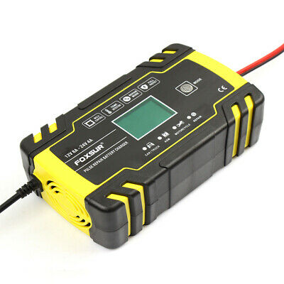 12V 24V 8A Automatic Smart AGM GEL WET Lead Acid Battery Charger LCD Display UK