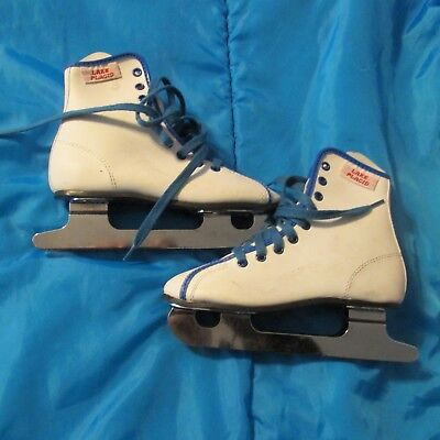 LAKE PLACID Girls Ice Skates- WHITE - Pre Owned - Nice Condition - Size USA 13