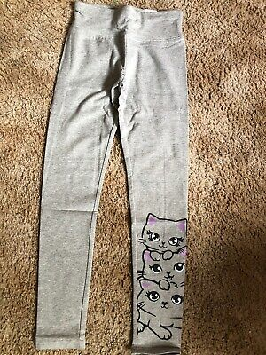 NWT GIRL'S JUSTICE Gray With Cat Faces Full Length LEGGINGS SIZE 14/16