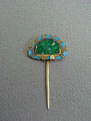 Chinese Export Silver Gold Gilt Jade Knot & Kingfisher Feather Hair Pin