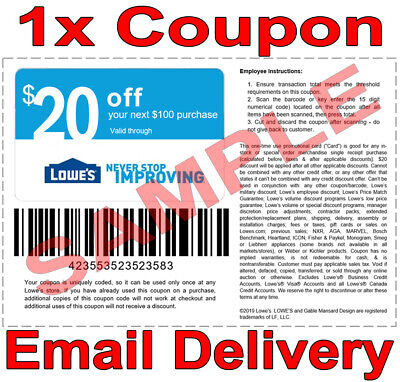 1× Lowes $20 OFF $100 FAST DELIVERY DISCOUNT-1COUPON INSTORE ONLY 𝐄𝐗𝐏 𝟔/𝟓